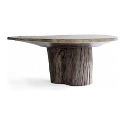 ecofirstart - Cross Section Dining Table - Bring a slice of the forest to your dining setting. This remarkable table, created from reclaimed Acacia and satinwood, lends a naturally majestic essence to every meal.