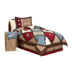 Sweet Jojo Designs - All Star Sports Kids Bedding Set - The All Star Sports Kids Bedding Set by Sweet Jojo Designs will help you create an incredible room for your child. This handsome boy bedding set combines super soft micro suede with cotton plaid in a diamond patch work construction. Throughout this set are sports themed appliques and embroideries of basketballs, footballs, baseballs, and other sports icons. This collection uses the stylish colors of Chocolate Brown, Cocoa, Brick Red, Dusty Blue, and Ivory. The design uses 100% cotton fabrics combined with micro suede fabrics that are machine washable for easy care. This set comes in Twin and Queen sizes.