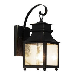 Trans Globe Lighting - Trans Globe Lighting Rustic Lodge Weathered Bronze Outdoor Wall Light - Craftsman outdoor lighting hangs delicately in place for porch lighting patios and outdoor living areas. Japanese inspired outdoor decor. Trans Globe Lighting is proud to be a leading manufacturer of residential lighting lamps and home decor since 1986. Born from the hopes and aspirations of two entrepreneurial spirits Trans Globe Lighting is a true testament to the American dream. Their company mission from the start was exceeding the industry standard in value style and selection. Today that mission remains stronger than ever.  In 2005 they expanded into a larger distribution facility in beautiful Valencia CA. This enables them to stock a steady on-hand inventory of over 3000 SKU's ranging from small outdoor porch lights to massive Bohemian crystal chandeliers. Features include UL Listed for Wet locations Square mission style lantern Seeded glass Asian Outdoor collection Matching outdoor collection. Specifications Finish: Weathered Bronze Material: Cast Aluminum Bulb Type: Medium - E-26 - E-27 - Type A Number Of Bulbs: 1 Watt Per Bulb: 100 Wattage: 100 Bulbs Included: No Suitable For: For outdoor use Energy Saving: No.