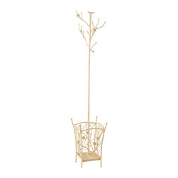 Holly & Martin - Willow Hall Tree, French Vanilla - Finally, an exciting place to hang your hat after a long day. Adding a coat rack to your home is the perfect solution and this great nature inspired stand offers a beautiful and useful solution. The top of the coat tree incorporates branches as hooks to hold both hats and coats with ease. The bottom opens up into a spacious umbrella stand with broad four-legged base for maximum stability. This coat and umbrella stand will add a charming touch to your entryway with one easy step.