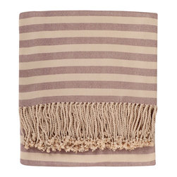 Nine Space - Striped Bamboo Viscose Throw, Plum - Classic stripes are always in fashion, making this throw a good choice — one with staying power — to liven up your couch, chaise or bed. Made from ecofriendly bamboo, it's lightweight and luxuriously soft, providing just the right amount of warmth for year-round use.