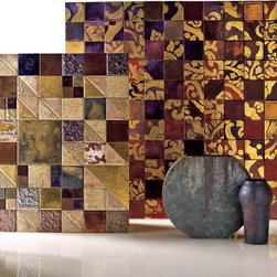 Franco Pecchioli - Italian Art Tile, Lustro Palette - Franco Pecchioli Ceramica Firenze has been making art tile in Florence for over a century, unsurpassed in technique and beauty. The authentic metallic selection shown is just a part of the extensive palette, available in many sizes and shapes, made-to-order slab and accessories to create a complete look in any area using tile.
