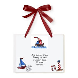 Jamie's Painting & Design - Personalized Birth Certificate Hand Painted Tile - Nautical - Personalized Birth Certificate Hand Painted Tile - Nautical
