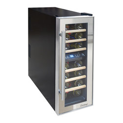 Vinotemp - 21-Bottle Dual-Zone Thermoelectric Mirrored Wine Cooler - Store your wine in style with Vinotemp's new 21-Bottle Thermoelectric Mirrored Wine Cooler. With its two independent temperature zones, this unique cooler allows you to store both red and white wines at their ideal temperatures. Featuring a black cabinet and dual pane glass door with mirrored trim, this model is a striking addition to any room. A quiet and vibration free thermoelectric cooling system maintains the ideal environment for your collection.