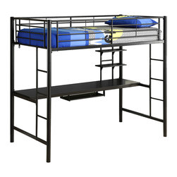 Walker Edison - Twin Metal Loft Bed with Workstation- Black - Beloved for its compact foot print, this loft bed is a necessity for your children's bedroom. The sturdy, steel frame promises stability and function to support a twin size mattress and up to 250 pounds. Features full length guardrails and two integrated ladders, one on each end.  Includes a detachable desk with  a sliding keyboard trey and two shelves for an additional workspace. This ideal space-saver is the perfect addition for your bedroom.