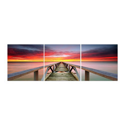 Elementem - Red And Purple Sunrise Print - This frameless triptych photograph of a Cancun pier is printed on vinyl and mounted on a wooden MDF frame. We laminate over each of our photos to allow them to be easily cleaned and protected. Packed with wall hangers, they are easy to install.
