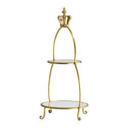 Cyan Design - Cyan Design Crowned Two Tier Stand X-21740 - An elegant addition to bedside tables, bathroom vanities and more, this Cyan Design tiered stand is functional and beautiful. The finial of this stand takes on a more royal appeal, with its crown shape and inspired details. Gold finishing throughout accentuates the elegance.