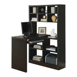 Monarch Specialties - Monarch Specialties 7021 Left or Right Facing Corner Desk in Cappuccino - This unique contemporary corner desk offers combination storage for your home office. The sleek piece has clean lines, in a rich dark cappuccino finish that will complement your home decor. Six smaller storage shelves are at the top to keep smaller items organized, while four larger shelves below are ideal for books and other office supplies. The desk that features a pull-out keyboard tray can be positioned to the left or right of the unit allowing you to customize your space as needed.