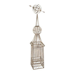 Armillary Obelisk Metal Garden Trellis - *The Younger Garden Trellis will give your climbing plants a sturdy iron form while complimenting your decor with its classic design.