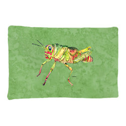 Caroline's Treasures - Grasshopper on Avacado Fabric Standard Pillowcase Moisture Wicking Material - Standard White on back with artwork on the front of the pillowcase, 20.5 in w x 30 in. Nice jersy knit Moisture wicking material that wicks the moisture away from the head like a sports fabric (similar to Nike or Under Armour), breathable performance fabric makes for a nice sleeping experience and shows quality. Wash cold and dry medium. Fabric even gets softer as you wash it. No ironing required.