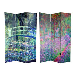 Oriental Furniture - 6 ft. Tall Double Sided Works of Monet Canvas Room Divider - Water Lily/Garden - Another of our beautifully colored canvas floor screens, this stunning piece is decorated with the art of the 19th century French impressionist master Claude Oscar Monet. The front image is from Le Bassin aux Nymphea, circa 1899, featuring a much beloved Japanese style arched bridge on his property at Giverny. The art on the back is a photographic reproduction of the compelling Le Jardin de Monet, les Iris, circa 1900, a painting of his family's Iris garden. These fine quality nature art prints provide stunning interior design elements for your living room, bedroom, dining room, home office or place of business.
