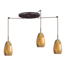 Besa Lighting - Besa Lighting 3JW-4126HN Pera 3 Light Cord-Hung Mini Pendant - The Pera 9 is a curvy bell-bottomed shape, that fits nicely into any contemporary design. This unique decor is handcrafted, with layered swirls of yellow-amber and golden-brown against white, finished to a high gloss. It's classic swirl pattern and high gloss surface has a truly florid gleam. Honey is a hand-blown glass designed to have a shiny and polished finish. The glass is gathered and rolled into shape a unique pattern is formed that cannot be replicated. This blown glass is handcrafted by a skilled artisan, utilizing century-old techniques passed down from generation to generation. Each piece of this decor has its own unique artistic nature that can be individually appreciated. The cord pendant fixture is equipped with three (3) 10' SVT cordsets and a 3-light large round canopy, three (3) suspension stemhooks included.Features: