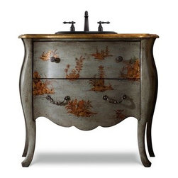 "Cole & Co. - Cole & Co. 37"" Designer Series Hannah Bombe Chest - Soft Antique Blue - Cole & Company combines great design with great flexibility, allowing you to mix and match size, finish, and style to create your own perfect bathroom vanity. In the manner typical of true 18th Century Chinoiserie painted antiques, the Hannah Bombe is finished elegantly in a soft antiqued blue and features Venetian inspired gold accents. Classic design elements and a relaxed finish adds an aire of country French opulence. Features one functioning drawer and aged pewter hardware pulls. Handmade individually of Asian hardwood solids.Cole & Co. has offered its famous Designer Series since 1998 and is among the most popular and well-known is the US. Featured is almost every major design and interiors magazine, each handcrafted furniture piece in the Designer Series has the back cut out by hand for plumbing and sink installation and door or drawers configured to retain usefulness and storage capabilities. Designer Series vanities come with the wooden tops as shown to replicate a fine piece of furniture much the same way fine antiques have been converted as vanities in this way for years. Each piece is thoughtfully configured for ease in plumbing installation.When purchasing Cole & Co. vanities, you will have peace of mind that you're choosing furnishings of enduring quality. Caring craftsmen pay attention to every detail such as: All drawers include wood-on-wood glides for smooth, efficient operation, and all touching drawer guide parts are waxed for smooth and quiet operation; Strength and durability are supplied by mortise and case construction reinforced with glue and metal fasteners; Solid lumber and select wood veneers are carefully chosen to permit consistent finishing as use of veneers enables more decorative looks unattainable with solid wood. Veneers, which are used only on flat surface areas such as the case tops and sides, also add weight, strength and dimensional stability; and lastly, Up to 30 finishing steps, including 13 steps of hand-sanding and accenting are used with physical distressing done by hand to insure an authentic, antique look. In addition, all items receive two to three full coats of catalyzed lacquer for extra depth and durability and a final top coat of nitrocellulose to help protect it from wear, water and light.Your Cole & Co. quality vanity is a significant investment expected to last for generations. To maintain its beauty and help it last, please refer to the Designer Series product information sheet and the Care & Cleaning FAQ. Each piece is handmade and finished and actual color may vary. Features: Completely hand madeAged Pewter HardwareFeatures one functioning drawer and aged pewter hardware pulls37""W x 20""D x 33-1/2""HFaucet(s) not includedSink(s) not included Ships with wooden topPlease confirm sink measurements will work prior to ordering. Cole & Co. can custom cut your vanity for countertops and faucets. Please contact us for details.No assembly required How to handle your counter"