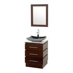 Wyndham Collection - Bathroom Vanity Set with Mirror - Includes one bathroom vanity and one black granite sink. Faucets not included. Three drawers. Top drawer has cut out for plumbing. 8 stage painting and coloring process. White glass top. Floor standing vanity. Contemporary and unique design. Deep doweled drawers. Side mount drawer slides. Single hole faucet mount. Lots of storage space for a small vanity. Metal hardware. Made from marble and MDF. White, black, espresso and brushed chrome color. Care Instruction. Vanity: 22.25 in. W x 20 in. D x 36 in. H. Mirror: 22 in. W x 28 in. H