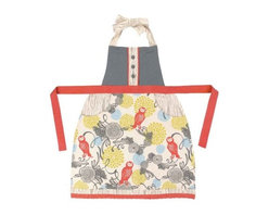 Sarah Watts Owl Apron - Perfect for any cook looking for beauty and function, this vintage chic apron features a retro owl pattern with deep contrasting pockets and button and lace detailing.