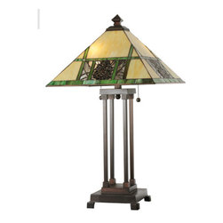"""Meyda Tiffany - Meyda 25""""H Pinecone Ridge Table Lamp - This charming nature inspired lamp features a Pinecone Mission designed shade with Bark Brown granite glass Pinecones on a Clear granite glass background with pine needle detailing. Bone Beige stained glass is geometrically divided by Moss Green bands on the shade. An exquisite Mission style base is hand finished in Mahogany Bronze."""