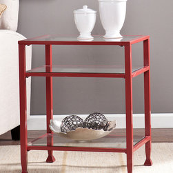 Southern Enterprises - Red Metal & Glass End Table - Refresh your living space with this modern end table that features a solid metal frame, pristine glass shelves and a vibrant hue for a contemporary addition to your décor.   20'' W x 24'' H x 16'' D Glass / metal / iron Assembly required Imported