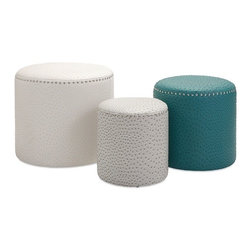 """Imax - Glam White Gray Teal Ostric Pattern Ottomans - Set of 3 - *Dimensions: 13.25-15.25-17.25""""h x 12.25-15.25-19.25""""w x 12.25-15.25-19."""