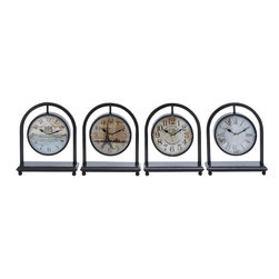 Benzara - Metal Desk Clock Assorted in French Style - Set of 4 - A symbol of class and luxury, this 11 in. H Metal Desk Clock Assorted in French Style (Set of 4) is a must buy for people who like experimenting with their home interiors by incorporating interesting decor accessories. These four assorted metal desk clocks symbolize the French style and one of the clocks sports Eiffel tower which is a global cultural icon of France. Each piece is unique in its own way and therefore you can place it in different rooms or gift it to your near and dear ones on special occasion. These durable and sturdy clocks will surely last a long time. You can free your home decor with the monotony of those regular table clocks with this classical piece in metal.