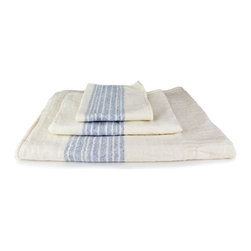 Morihata - Kontex Flax Line Organic Hand Towel - The Flax Line Organics series have a delicate chevron pattern with a striped border on one end. Each towel has two sides: an ultra-soft cotton weave and a looped cotton terrycloth pile. The exceptional design and care in processing the cotton make the Flax Line towels highly absorbent, lightweight, fast-drying and environmentally friendly. Made in Imabari, Japan. 100% organic cotton.