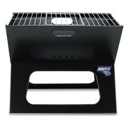 "Picnic Time - Charlotte Bobcats X-Grill Folding Portable Charcoal BBQ Grill - The X-Grill is the folding portable charcoal BBQ grill with a slim line design. Compact and easy to assemble, the X-Grill provides a grilling surface of 203.5 sq. in. The X-Grill includes 1 electro-plated iron barbecue grill, 1 chrome-plated tri-fold cooking grate (18.5"" x 11"") and 1 charcoal grate (all stored conveniently inside the folded grill), and 1 durable 600D polyester carrying tote. So why be confined to your backyard? With the X-Grill, you can take the BBQ wherever you want to go!; Decoration: Digital Print; Includes: 1 folding electro-plated iron BBQ grill; 1 chrome-plated charcoal grate; 1 chrome-plated tri-fold cooking grate, 18.5"" x 11""; 1 black 600D polyester carrying tote with warning label sewn into interior side of flap"