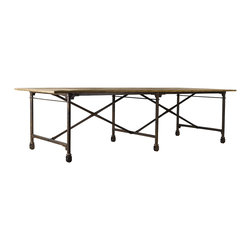 """Architect Dining Table 106"""" -Steel Legs on Casters -"""