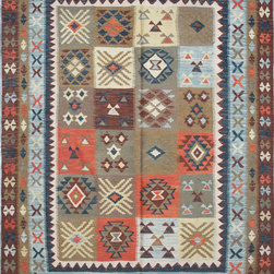 """ALRUG - Handmade Multi-colored Oriental Kilim  5' 8"""" x 8' 9"""" (ft) - This Afghan Kilim design rug is hand-knotted with Wool on Cotton."""