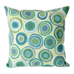 """Trans-Ocean - 20""""x20"""" Visions II Puddle Dot Spa Pillow - The highly detailed painterly effect is achieved by Liora Mannes patented Lamontage process which combines hand crafted art with cutting edge technology.These pillows are made with 100% polyester microfiber for an extra soft hand, and a 100% Polyester Insert.Liora Manne's pillows are suitable for Indoors or Outdoors, are antimicrobial, have a removable cover with a zipper closure for easy-care, and are handwashable. Made in USA."""