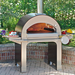 "Frontgate - Alfa Forno Wood Burning Pizza Oven - Crafted with an authentic Italian clay brick hearth and a stainless steel dome. Double ceramic fiber insulation retains heat longer. Exterior remains safe to touch during cooking. Also functions as an outdoor fireplace.. Two preparation shelves. By combining Old World methods with the latest manufacturing technology, the Alfa Forno 4 Wood Burning Pizza Oven can bake wood-fired pizzas and grill or broil your favorite meats and vegetables - all at the same time.  .  .  .  .  . Built-in tool holder . Wheels for easy mobility . Includes a 12"" x 14"" pizza peel (36"" total length) and 39"" cleaning brush . Arrives assembled . Made in Italy."