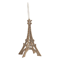 Glass Glitter Eiffel Tower Ornament - I love this Eiffel Tower ornament so much that I leave mine out in my office year round. It's a glam little reminder to save some dollars for a future trip to Paris.