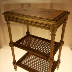 Decor NYC Consignment Archive - Louis XVI Style Side Table w/ marble top & cane shelves