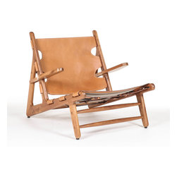 Aiden Teak Lounge Chair - Laze around in style in the Aiden Lounge Chair. Form and comfort meet in the mid-century modern design of the chair. With extended arm rests, a tanned leather seat and teak wood frame, this lounge chair makes for a cozy sitting experience in any space.