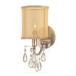Crystorama - Crystorama 5621-AB Hampton 1 Light Wall Sconces in Antique Brass - Crystorama's very popular Hampton Collection offers fashion forward designs with soft crystal accents. The Gold Silk Shimmer shade along with the antique brass finish allows this collection to fit any transitional to contemporary room.