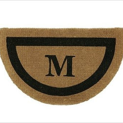 """Monogrammed Half-Round Doormat, 22 x 36"""", Black - Our hand-screened doormat makes a welcoming statement for holiday guests. Add a monogram for a more personal look. Border and monogram: choose from black or espresso. Thickly woven of naturally durable coir, a fiber derived from the outer husk of coconut shells. May be monogrammed at no additional charge. Monogram will be centered on the doormat. Catalog / Internet Only. Imported."""