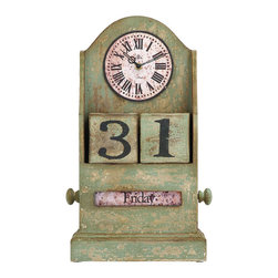 Benzara - Countryside Themed Table Top Clock With Calendar - The ultimate time piece for a lavish French countryside home. The clock face is tall and circular with classical Roman numerals on the face, in a vintage style aged wood. Rarely is such a beautiful clock paired with the convenience of a fully functional calendar, but this one pulls it off. Enjoy it on the kitchen counter, or even the home office.