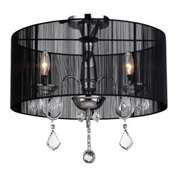 Warehouse of Tiffany - Round Satin Crystal Chandelier - Adorn any space with this crystal chandelier from Warehouse of Tiffany. A chrome finish and six lights finish this lovely lamp. Round Satin Crystal ChandelierSetting: IndoorFixture finish: ChromeNumber of lights: 3Required three (3) 40 watt bulbs (not included)Shade: 9 inches highDimensions: 9 inches high x 18.5 inches diameterThis fixture does need to be hard wired. Professional installation is recommended.CSA Listed, ETL Listed, UL Listed