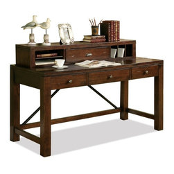 Riverside Furniture - Castlewood Writing Desk with Hutch in Warm Tobaco Finish - Desk with drop-front knee drawer with 2-outlet power bar and wiring access holes.