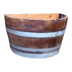 "Master Garden Products - Lacquer finished Oak wood Quarter Wine Barrel Planter, 26""W x 13""D x 18""H - Quarter wine barrel planters are designed to be placed against any kind of wall or structures allowing you to accentuate your garden. We use authentic oak wood wine barrels with quality and value in mind for your gardening needs. Unlike whisky barrels, classic wine barrels are much better built, and wrapped with three galvanized steel bands to prevent rust which are seen frequently in whisky barrels. Unlike most retailers, we drilled drainage holes on the bottoms of your barrel planters, drainage holes are needed, so excess water may drain out of the containers without drowning and killing the plants. Of course you may also use these barrel planters for other purposes without the need of drain holes at the bottoms. All oak wood barrel front and bottom, cedar wood at the back. Lacquer finished.  Made of reclaimed oak staves from reclaimed wine barrels; color tone may vary from one product to another"