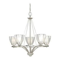 Vaxcel International Co Ltd - Vaxcel Asti 5-Light Chandelier - 26W in. Satin Nickel Multicolor - AA-CHU005SN - Shop for Chandeliers from Hayneedle.com! Don t fuss too much over the Vaxcel Asti 5-Light Chandelier - 26W in. Satin Nickel it might embarrass easily. Now we doubt that light fixtures have feelings but if they did the others must be jealous of this modern take on the classic chandelier. The metal body sports simple lines and clean curves with a versatile brushed-nickel finish. Each of the five shades covers a 60-watt candelabra bulb and features a two-part design that lets a frosted glass shade glow from inside a clear outer shade. This eye-catching fixture is ideal for home or commercial use.About Vaxcel LightingFor over 20 years Vaxcel International has been a premier supplier of residential lighting products. Based in Carol Steam Ill. Vaxcel's product line is composed of more than 2 000 items ranging from builder-ready fixtures and ceiling fans to designer chandeliers and lamps in the latest styles and finishes. They're known in the industry for offering a full selection of products at competitive prices.
