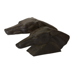Lazy Susan - Lazy Susan 228001 Aged Black Racing Greyhounds - Enjoy a pair of smooth-coated sleek racing hounds keeping a watchful eye over you and yours. This sculptural back resin duo makes a great bookend or can sit majestically on a shelf or side table conjuring up memories of their glory days on the racetrack.