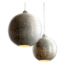 Roost - Constellation Pendant Lamp, Large - Stardust sparkles of light glow from our Constellation Pendants.  Globes of zinc-plated iron are hand-drilled to create stellar shades.  The pendants feature clear cords and porcelain sockets.