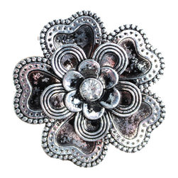 DaRosa Creations - Flower Drawer Knobs With Petals And Crystal Center - Flower Drawer Knobs with Petals and Crystal Center (MK135)