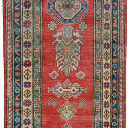 "ALRUG - Handmade Red Oriental Kazak Runner 2' 7"" x 9' 3"" (ft) - This Afghan Kazak design rug is hand-knotted with Wool on Cotton."