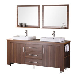 "Design Elements - Design Elements DEC083D-L Vanity in Toffee - The Washington72"" double-sink vanity in toffee is stylishly constructed of solid plywood panels with veneer laminate. The stylish white rectangular sinks and sleek toffee cabinetry bring style and utility to any bathroom. This vanity includes soft-closing cabinet doors and three pullout drawers, all adorned with satin nickel hardware. The sides of the vanity feature a removable towel bar and shelving for additional storage and utility. Two matching mirrors with shelves are included. The Washington Bathroom Vanity is designed as centerpiece to awe and inspire the eye without sacrificing quality, functionality, or durability."