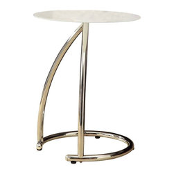 Monarch Specialties - Monarch Specialties 18 Inch Round Accent Table with Frosted Tempered Glass - To have or not to have just isn't an option! This handy accent table offers individuals a simple yet favorable way for placing drinks, snacks or meals while watching TV or chatting on the sofa. Its fashionable curved chrome metal base and frosted tempered glass top provide exceptional support to this must-have piece! What's included: Accent Table (1).