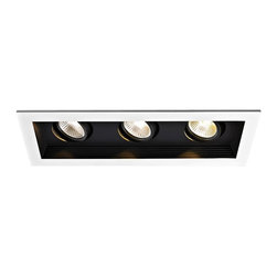 """WAC - WAC Triple Mini Spot Light LED Remodel Recessed Housing - Add a smooth finished look to your ceilings with this LED recessed housing designed for remodels. A white finish trim surrounds the black housing which holds three dimmable spot lights with an average 60000 hour lifespan when used 3 hours a day. For non-insulated ceilings this design required 3"""" of clearance from insulation on all sides. 1/2"""" of sheet rock is recommended for installation. Title 24 compliant. ETL and cETL listed. Compatible with WAC recessed lighting products. WAC mini remodel recessed housing. White finish trim with three black spot lights. Includes three 11 watt LED bulbs. Light output is 755 lumens per light; Comparable to three 50 watt MR16 bulbs . 3000K color temperature. Bulbs average 60000 hours at 3 hours a day. CRI is 85. 100 percent to 10 percent dimming. Title 24 compliant. Requires 3"""" of clearance from insulation. Recommended 1/2"""" sheet rock for installation. 22 3/4"""" wide. 5 1/8"""" high.   WAC mini remodel recessed housing.  White finish trim with three black spot lights.  Includes three 11 watt LED bulbs.  Light output is 755 lumens per light; Comparable to three 50 watt MR16 bulbs .  3000K color temperature.  Bulbs average 60000 hours at 3 hours a day.  CRI is 85.  100 percent to 10 percent dimming.  Title 24 compliant.  Requires 3"""" of clearance from insulation.  Recommended 1/2"""" sheet rock for installation.  22 3/4"""" wide.  5 1/8"""" high."""