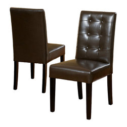 Great Deal Furniture - Gillian Brown Leather Dining Chair (Set of 2) - Dine in style and elegance with the Gillian Leather Dining Chair. it features a tufted backrest, upholstered in chocolate brown bonded leather, and espresso colored legs.