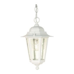 Nuvo - 1 Light - 13 in. Hanging Lantern - Clear Seed Glass - Clear Seed Shade. UL Wet Rated. Incandescent . Color/Finish: White. Max wattage: 60w. Bulb(s) not included. 7 in. W x 12.625 in. H