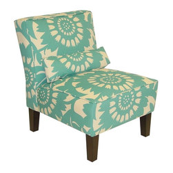 Skyline Furniture - Gerber Accent Chair in Turquoise - Pillow adds extra lumbar support for those with back trouble. Polyurethane foam fill. 100% cotton upholstery. Made from premier solid wood. Made in USA. Assembly required. 32 in. W x 25 in. D x 33 in. H (32 lbs.)
