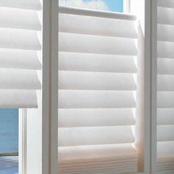 Hunter Douglass Vignette Blinds - Available in over 300 colors and a vertical option, these blinds can work with your space. 100% polyester